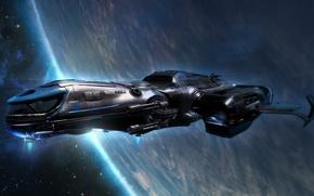 Обои полет, космический корабль, планета, звезды