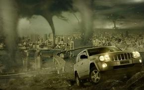 Обои город, катастрофа, внедорожник, торнадо