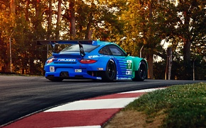 Картинка 911, Porsche, GT3, RSR, Team, Falken, Competition, Widebody, Sportcar, Track, Spoiler, Trees