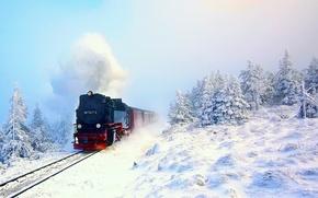 Картинка поезд, паровоз, снег, лес, зима