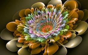 Картинка краски, узор, объем, линии, цветок