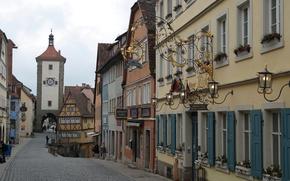 Обои часы, Германия, дома, арка, площадь, улица, Ротенбург-на-Таубере, Плёнляйн, башня Зиберстурм, Бавария
