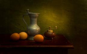 Картинка яйца, натюрморт, A Dutch insperation, кувшин, pepper grinder