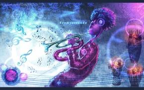 Картинка абстракция, ноты, человек, труба, trompeteando