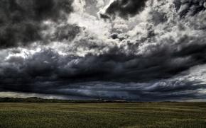 Обои мрак, поле, облака