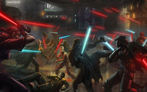 Картинка Star Wars, арт, битва, световой меч
