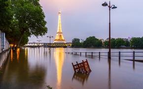 Картинка Франция, Париж, наводнение, Эйфелева башня