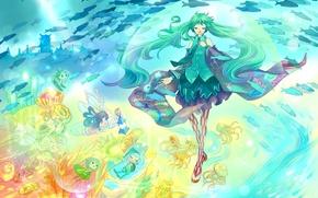Картинка девушка, рыбы, человечки, арт, медузы, vocaloid, hatsune miku, под водой, grayfair