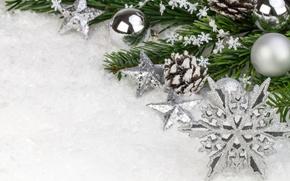 Картинка звезды, снег, шары, ветка, Новый Год, Рождество, декорации, Christmas, снежинка, New Year, елочные