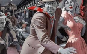 Обои паника, девушка, ретро, поезд