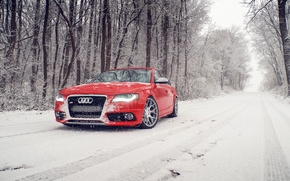 Картинка зима, снег, Audi, ауди, перед, red, красная, winter