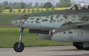 Картинка истребитель, нос, пилот, бомбардировщик, шасси, реактивный, немецкий, самолёт-разведчик, «Ласточка», «Schwalbe», Messerschmitt Me.262
