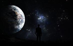 Обои небо, космос, ночь, планеты, unexplored dreams