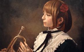 Картинка девушка, роза, масло, труба, живопись, холст, art, Pony, Imai Takahiro