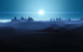 Обои Солнце, пустыня, горы