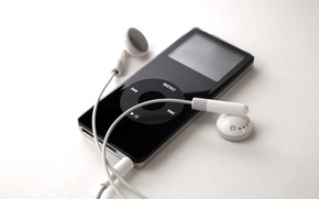 Обои чёрный, Apple, iPod, наушники