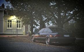 Картинка осень, фары, тюнинг, bmw, бмв, 740, stance, E38