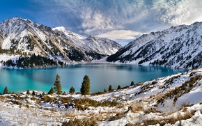 Картинка зима, снег, горы, озеро, Природа