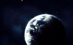 Обои Планета, звезды, свечение