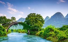 Картинка зелень, лес, деревья, горы, мост, река, красота, Китай, кусты, Yangshuo, Yulong Bridge
