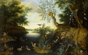 Картинка животные, деревья, река, картина, Ян Брейгель младший, Речной Пейзаж с Птицами