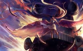 Картинка небо, девушка, облака, крылья, аниме, перья, арт, микрофон, vocaloid, hatsune miku, sishenfan