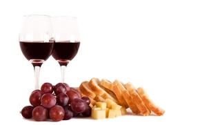 Картинка вино, красное, сыр, бокалы, хлеб, виноград, ломти