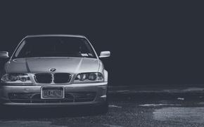 Картинка BMW, БМВ, черно-белое, E46