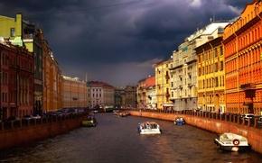 Картинка Мойка, Санкт-Петербург, канал, Россия, туча, Russia, St. Petersburg