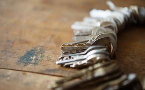 Картинка metal, wood, table, keys, rust