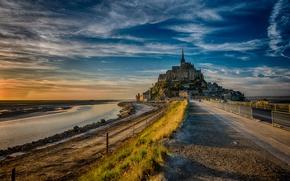Картинка дорога, Франция, остров, вечер, Мон-Сен-Мишель