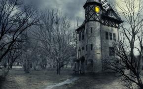 Картинка небо, облака, деревья, ночь, дом, замок, луна, moon, Хэллоуин, halloween, sky, trees, night, clouds, castle, …
