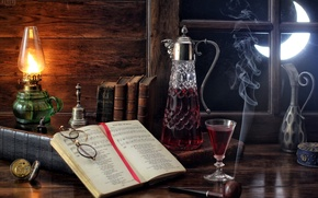 Картинка ноты, вино, луна, дым, часы, бокал, лампа, трубка, окно, очки, книга, натюрморт, колокольчик, графин