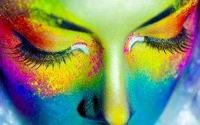 Картинка девушка, ресницы, краски, закрытые глаза
