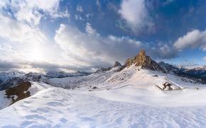 Обои зима, снег, горы, природа