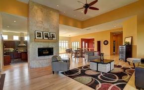 Картинка дом, стол, окна, кухня, камин, столик, гостиная, кресла.