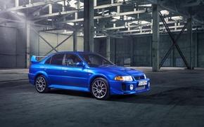 Картинка синий, ангар, Mitsubishi, Lancer, blue, лансер, митсубиси, эволюшн, Evolution V, Evolution 5