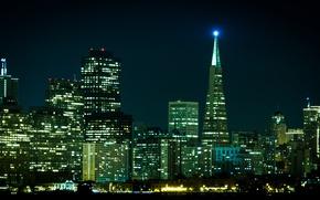 Картинка ночь, city, здания, Сан-Франциско, USA, США, night, San Francisco