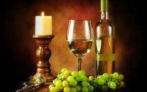 Обои бутылка, свеча, белое, виноград, бокал, вино, штопор