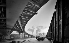 Картинка зима, снег, мост, черно-белая, вагоны, железная дорога
