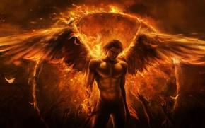 Картинка руки, крылья, арт, парень, демон, ангел, Imaliea, огонь