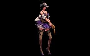 Обои девушка, темный фон, оружие, чулки, шляпа, револьвер, dungeon and fighter