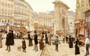 Картинка Париж, площадь, Тримфальная арка, парижане