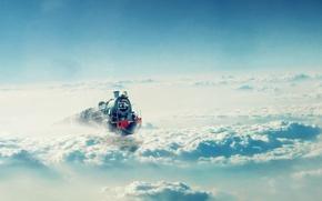 Картинка небо, облака, Поезд, локомотив