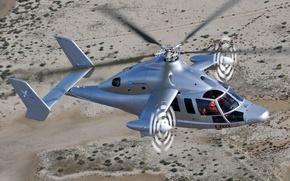 Обои Полет, Винтокрыл, Вертолёт, Eurocopter, Пустыня, Высота