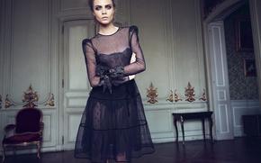 Картинка взгляд, актриса, фотограф, 2012, журнал, топ-модель, Cara Delevingne, Кара Делевинь, Horst Diekgerdes, Vogue Turkey