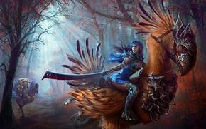 Картинка sword, fantasy, forest, animals, women-warrior