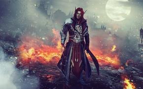 Картинка огонь, эльф, рыжий, маг, мужчина, руины, World of Warcraft, Warcraft, wow