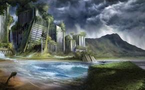Картинка море, город, заросли, человек, арт, доска, руины, серфингист