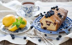 Картинка лимон, чай, выпечка, десерт, сладкое, ложки, цитрусы, черника, ягоды, фрукты, кекс, еда